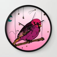 birdy Wall Clocks featuring Birdy by Gwladys R.