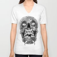 teeth V-neck T-shirts featuring Teeth by PCRK