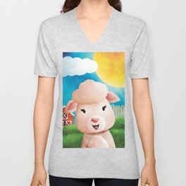 Meryl Sheep - Baaa - Nursery Art - Cute Animal Unisex V-Neck