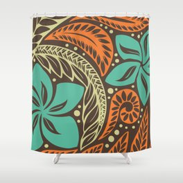 Circular Polynesian Blue Brown Orange Floral Tattoo Shower Curtain dba587c85