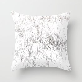 Grass in the snow Throw Pillow