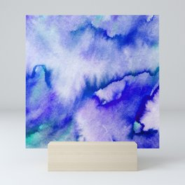 Watercolor texture - electric blue Mini Art Print