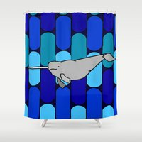 narwhal Shower Curtains featuring Narwhal by Madame Mim