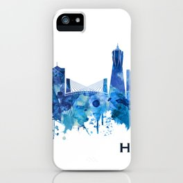 Hangzhou China Skyline Blue iPhone Case