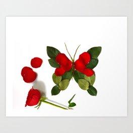 Butterfly-Rose Art Print