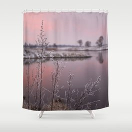 Winter Sunset At River Bank Shower Curtain