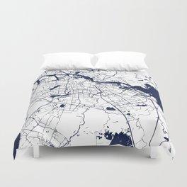 Amsterdam White on Navy Street Map Duvet Cover