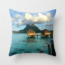 Bora Bora Tahiti Bungalow 2 Throw Pillow