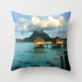 Bora Bora Tahiti Bungalow 2 Throw Pillow