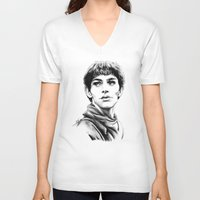 merlin V-neck T-shirts featuring Merlin by Anna Tromop Illustration
