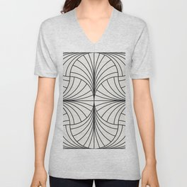 Diamond Series Inter Wave Charcoal on White Unisex V-Neck