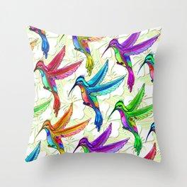 Hummingbirds Multicolors Pattern Throw Pillow