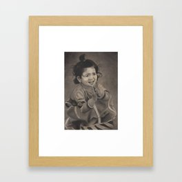 Next Door Baby Girl Playing with Mud Framed Art Print