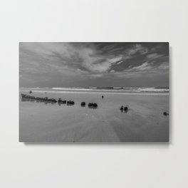 Exposed driftwood structure on Assateague Island (black and white) Metal Print