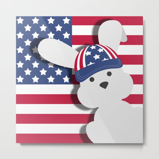 INDEPENDENCE DAY BUNNY Metal Print