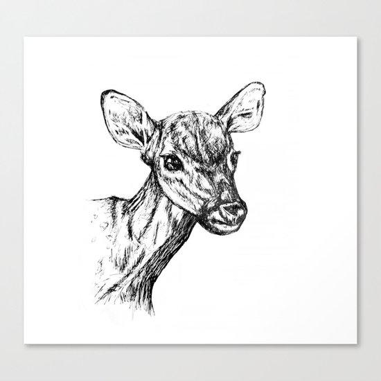 Deer - Black & White Canvas Print
