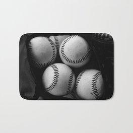 Black and White Pile of Baseballs Bath Mat