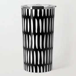Classy Handpainted Stripes Pattern Black, Scandinavian Design Travel Mug