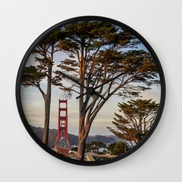 Golden Gate Bridge through the trees Wall Clock