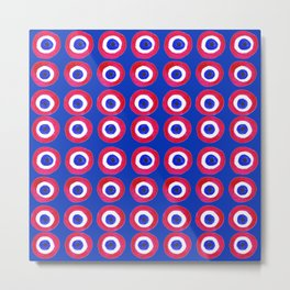 Donut Evil Eye Amulet Talisman - red on blue doughnut Metal Print