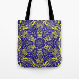 Abstract kaleidoscope of wattle blooms on textured background Tote Bag