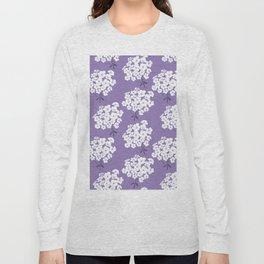 White Phlox flowers on purple Long Sleeve T-shirt
