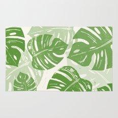 Linocut Monstera Leaf Pattern Rug