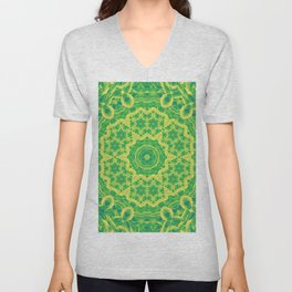 mystic mandala in green and yellow Unisex V-Neck