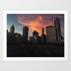 Chicago's Northern Lights Art Print