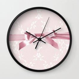 White lace & Pink ribbon Wall Clock