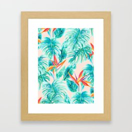 Tropical Paradise Pale Peach Framed Art Print