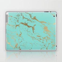 Modern teal gold marble pattern Laptop & iPad Skin