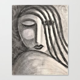 Flirt Abstract Charcoal Portrait of a Woman Canvas Print