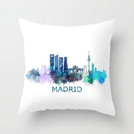 Madrid City Skyline HQ Throw Pillow