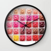 nail polish Wall Clocks featuring Dripping Nail Polish by LuxuryLivingNYC