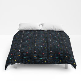 Pac-Man Retro Arcade Video Game Pattern Design Comforters