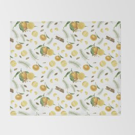 Tangerines, spices and branches of tree Throw Blanket
