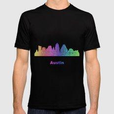 Rainbow Austin skyline Black Mens Fitted Tee MEDIUM