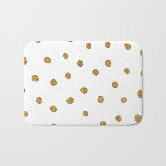 Golden touch II - Gold glitter polkadots Bath Mat