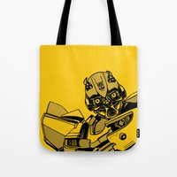 transformers Tote Bags featuring Transformers: Bumblebee by Skullmuffins
