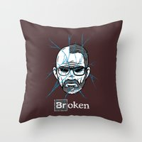 broken Throw Pillows featuring Broken by Mike Handy Art