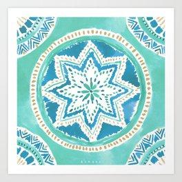 Aqua & Gold MIGHTY MEDALLION Mandala Art Print