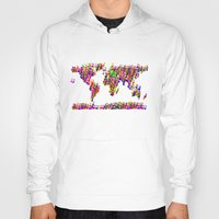 music notes Hoodies featuring World Map Music Notes by mailboxdisco