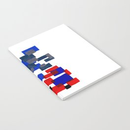 Modern Mid Century Abstract Geometric Cube Square Acrylic Painting Blue With Red Accents Notebook