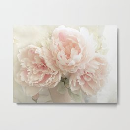 Shabby Chic Cottage Pastel Pink Peony Prints and Peony Home Decor Metal Print