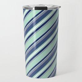 Fun Diagonal Stripes Blue Travel Mug