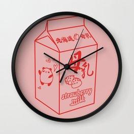 Kawaii Strawberry Milk Wall Clock