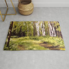 Birch Trees Nature Landscape Oil Painting Rug