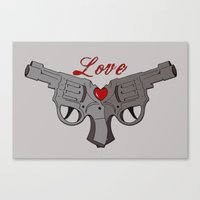 guns Canvas Prints featuring Love Guns by AnnaCas