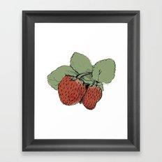 Two Strawberries Framed Art Print